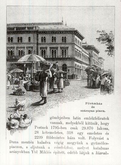 Fővámház és a szárnyas piac, Budapest 1885