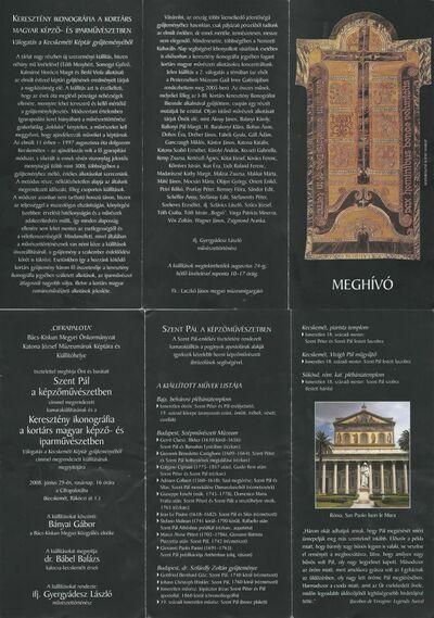 Meghívó a Szent Pál a képzőművészetben és a Keresztény ikonográfia a kortárs magyar képző- és iparművészetben című kiállításra