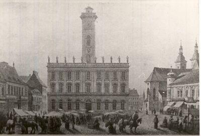 Piac a régi pesti városháza előtt XIX. század