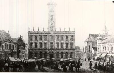 Piac a régi pesti városháza előtt 1856-1863
