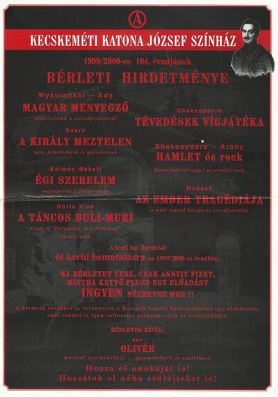 Kecskeméti Katona József Színház 1999/2000-es 104. évadjának bérleti hirdetménye