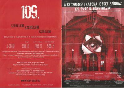 A Kecskeméti Katona József Színház 2004/2005-ös 109. évadjának (bérleti) hirdetménye