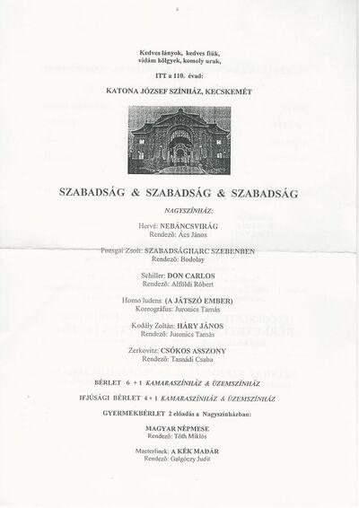 A Kecskeméti Katona József Színház 2005/2006-os 110. évadjának (bérleti) hirdetménye