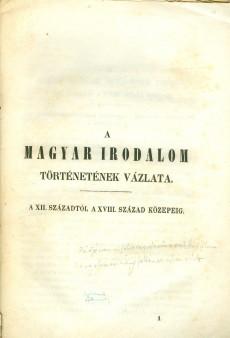 A magyar irodalom történetének vázlata