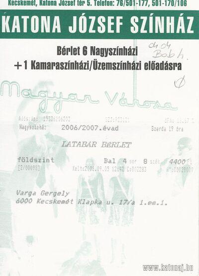 A Kecskeméti Katona József Színház Latabár bérletei (2006-2012), szezonbérlete (2008) és ruhatári jegyei (2009)