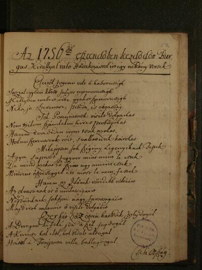 Magyar krónikás ének a 18. századból