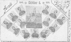 Képeslap, az Aradi 13 tablója