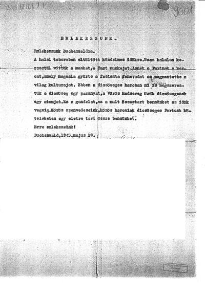 Emléklap Buchenwaldról