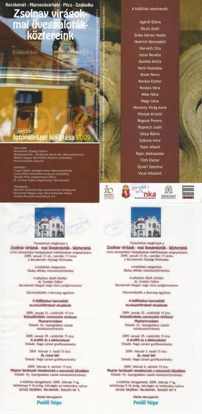 Meghívó a Zsolnay virágok - mai üvegpaloták - köztereink című fotópályázat kiállítására és művészettörténeti előadásokra