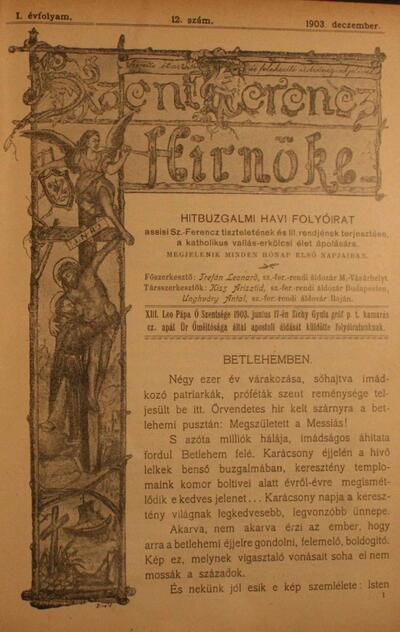Szent Ferencz hírnöke 1903. december