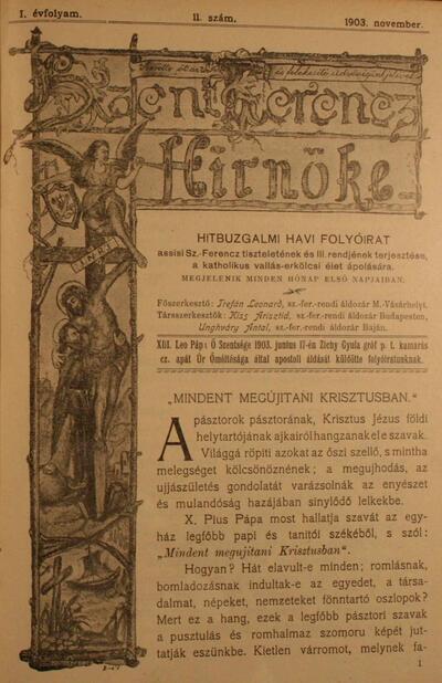 Szent Ferencz hírnöke 1903. november