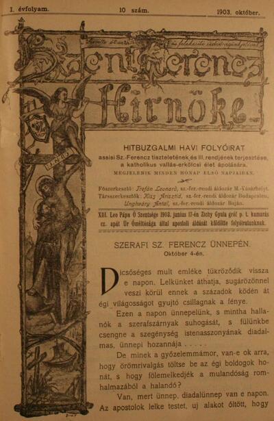 Szent Ferencz hírnöke 1903. október