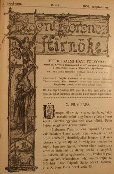 Szent Ferencz hírnöke 1903. szeptember