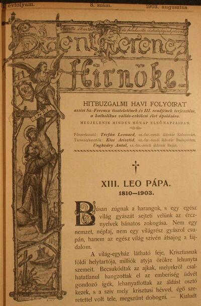 Szent Ferencz hírnöke 1903. augusztus