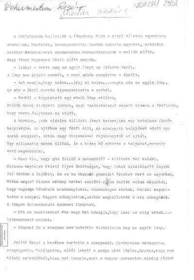 """R. Dezsőné sz. P. Erzsébet. """"Micsoda madár"""" – dokumentum-regény"""