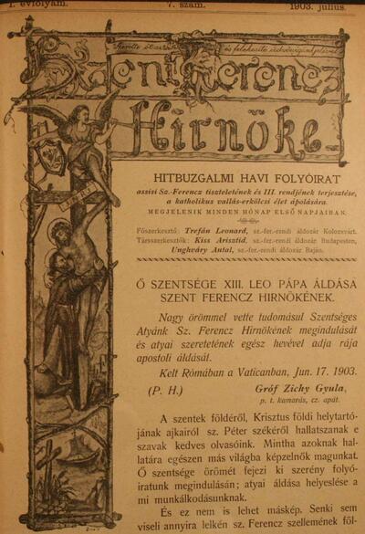 Szent Ferencz hírnöke 1903. július