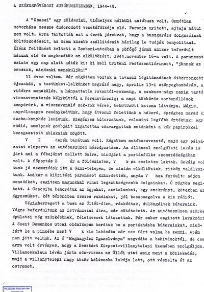 Sz. Tibor: A székesfővárosi autóbuszüzemben, 1944-45