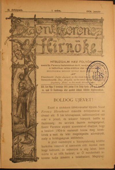 Szent Ferencz hírnöke 1904. január