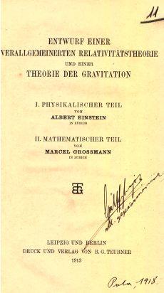 Entwurf einer Verallgemeinerten Relativitatstheorie und einer Theorie der Gravitation