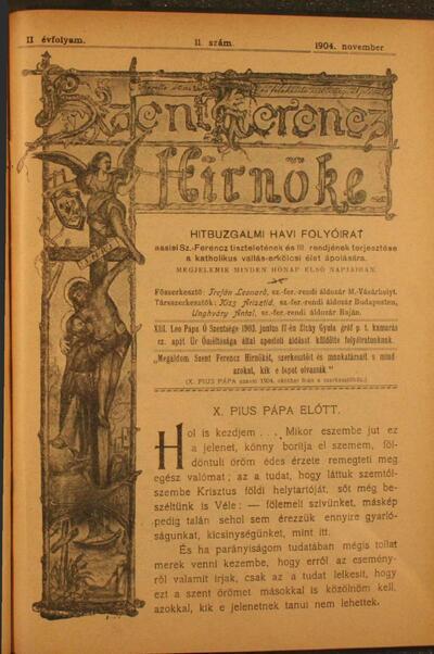 Szent Ferencz hírnöke 1904. november