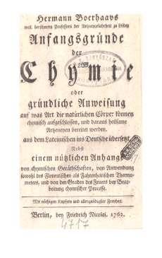 Hermann Boerhaavs: Anfangsgründe der Chymie   I-II.kötet