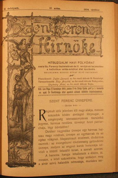 Szent Ferencz hírnöke 1904. október