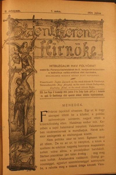 Szent Ferencz hírnöke 1904. július