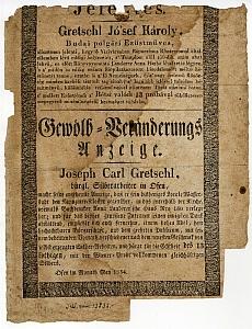 Gretschl József Károly budai ezüstműves értesítője üzlete áthelyezéséről