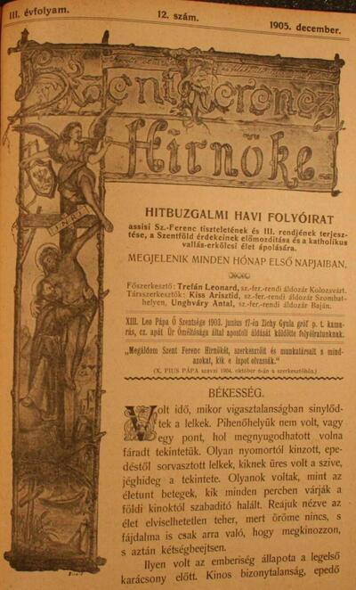 Szent Ferencz hírnöke 1905. december