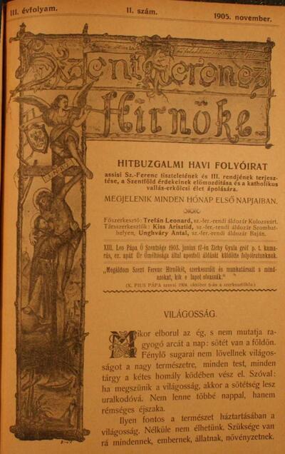 Szent Ferencz hírnöke 1905. november