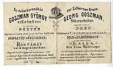 Goszman György pesti ezüstműves reklámcédulája