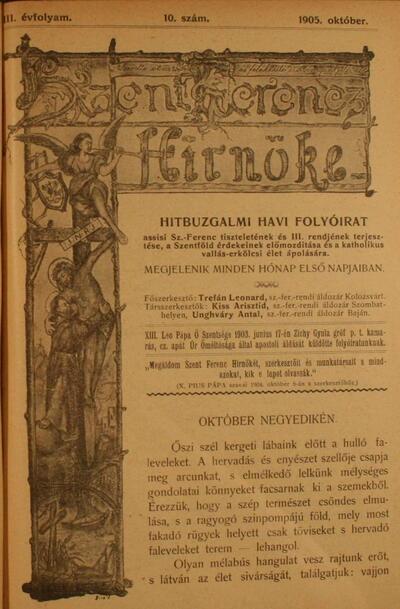 Szent Ferencz hírnöke 1905. október