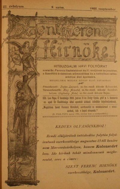 Szent Ferencz hírnöke 1905. szeptember
