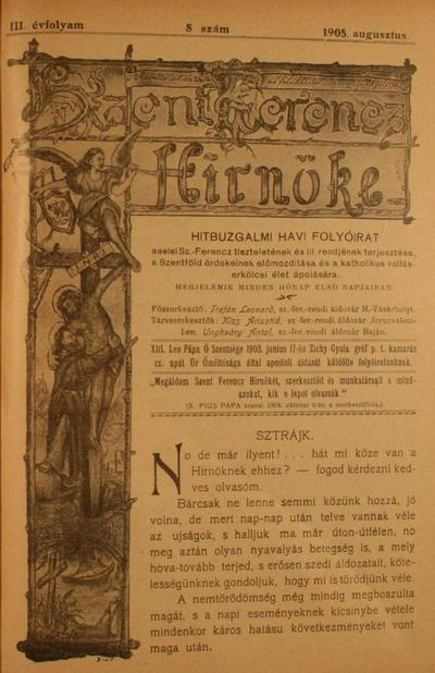 Szent Ferencz hírnöke 1905. augusztus