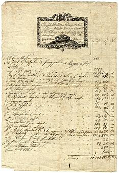 Prandtner ezüstműves számlája, 1808