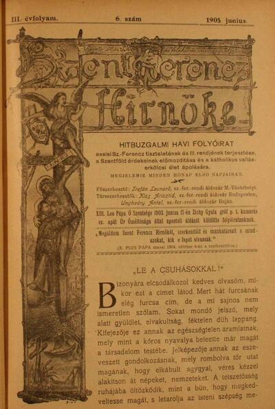 Szent Ferencz hírnöke 1905. június