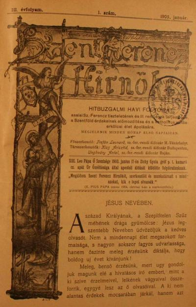 Szent Ferencz hírnöke 1905. január