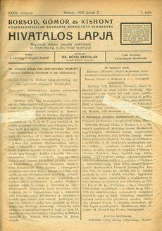 Borsod-Gömör és Kishont hivatalos lapja