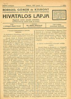 Borsod Gömör És Kishont Hivatalos Lapja