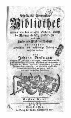 Johann Beckmann: Physikalisch-ökonomische Bibliothek 1.Bd