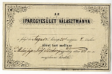 Meghívó az Iparegyesület választmányi gyűlésére Széchenyi gróf részére, é.n.