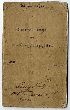 Aláírási könyv az Országos Védegyletre, 1845