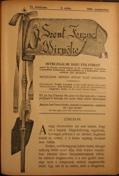 Szent Ferencz hírnöke 1906. szeptember