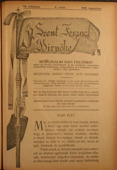 Szent Ferencz hírnöke 1906. augusztus
