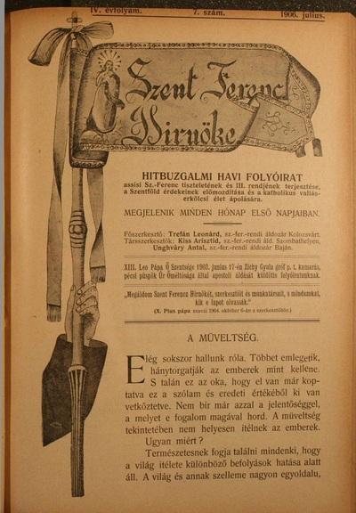 Szent Ferencz hírnöke 1906. július