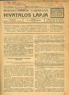Borsod, Gömör és Kishont Vármegye hivatalos lapja 1947