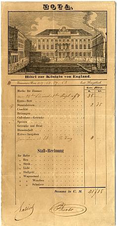 Az Angol Királynő szálló számlája és reklámja, 1840-es évek