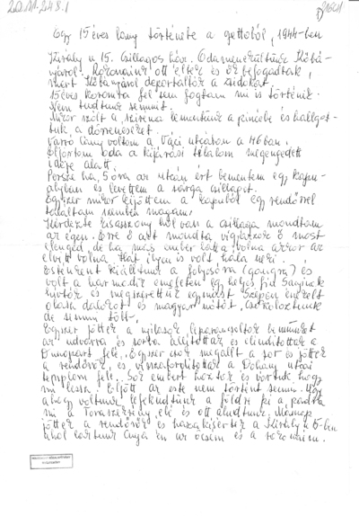 Egy 15 éves lány története a gettóból, 1944-ben