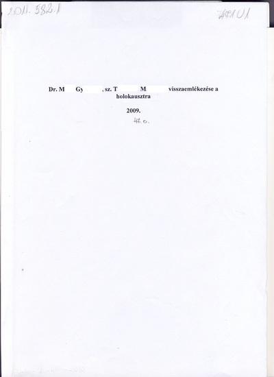 Dr. M. Györgyné Dr T. Magdolna visszaemlékezése