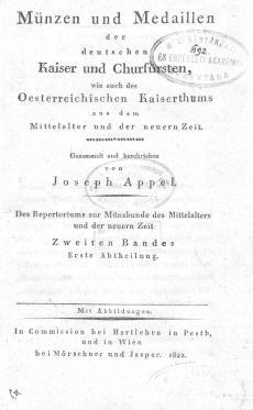 Appel's Repertorium zur Münzkunde des Mittelalters und der neuern Zeit